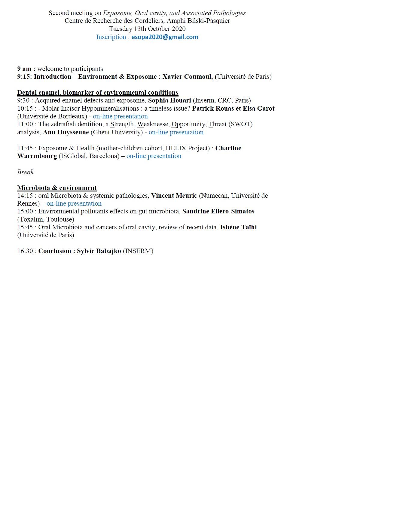 Exposome, oral cavity, associated pathologies   Tuesday, October 13, 2020